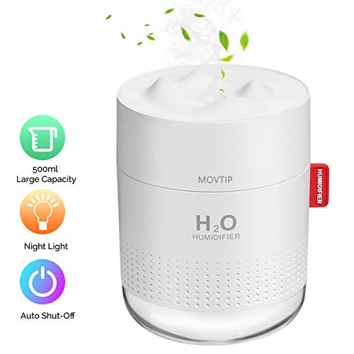 Portable Mini Humidifier, 500ml Small Cool Mist Humidifier, USB Personal Desktop Humidifier for Baby Bedroom Travel Office Home, Auto Shut-Off, 2 Mist Modes, Super Quiet, White