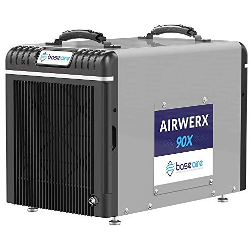BaseAire Basement Dehumidifier AirWerx90X, Crawl Space Dehumidifier with Pump, Removal 90 Pints/Day at AHAM, Cover 2,600 Sq. Ft. Portable, HGV Defrosting, Remote Control, 5 Years Warranty