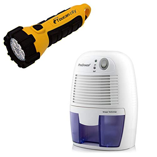 Toucan City LED Flashlight and Pro Breeze 0.45-Pint Dehumidifier with Bucket and Auto Shut Off...