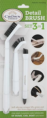 3-in-1 Grout Cleaner Brush Set – Small Cleaning...
