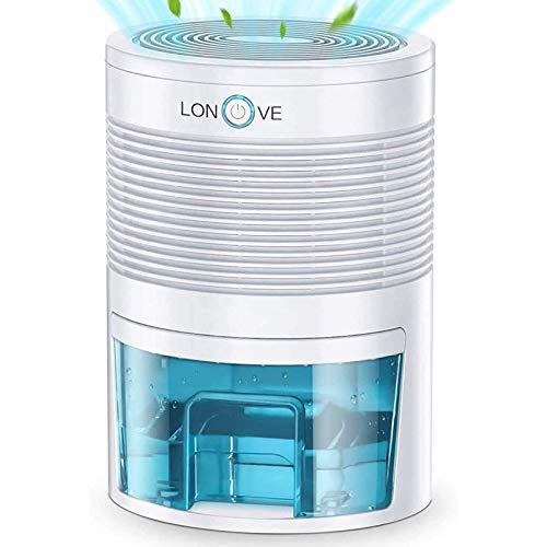 LONOVE Dehumidifier - 2200 Cubic Feet Small Dehumidifiers for Home Bedroom Bathroom Basement Closet RV Camper, 800ml (27 oz) Full Auto-Off Portable Electric Mini Dehumidifier for Space