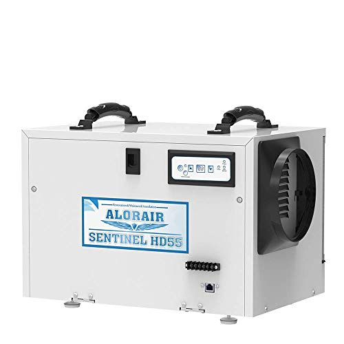 AlorAir Basement/Crawl Space Dehumidifiers Removal 120 PPD (Saturation) 55 PPD (AHAM), 5 Years Warranty, HGV Defrosting, cETL, Epoxy Coating, up to 1,300 Sq. Ft, Remote Control (Optional)