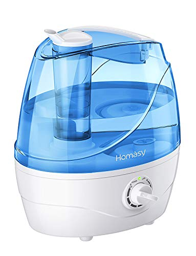 Homasy 2.2L Quiet Ultrasonic Bedroom, Easy to Clean Air Humidifier with 360°Nozzle, Auto Shut-Off, Adjustable Mist Output, Blue