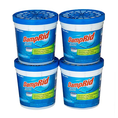 DampRid Fragrance Free Refillable Moisture Absorber - 10.5oz cups - 4 pack – Traps Moisture for Fresher, Cleaner Air