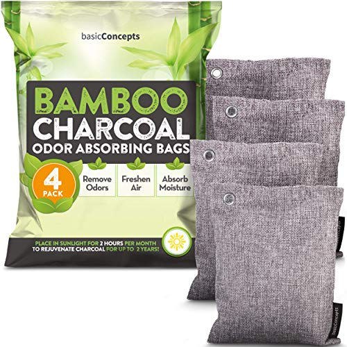 Bamboo Charcoal Air Purifying Bags (4 Pack), Charcoal Bags Odor Absorber for Home and Car (Pet Friendly) - Charcoal Air Purifying Bags (4 x 200g)
